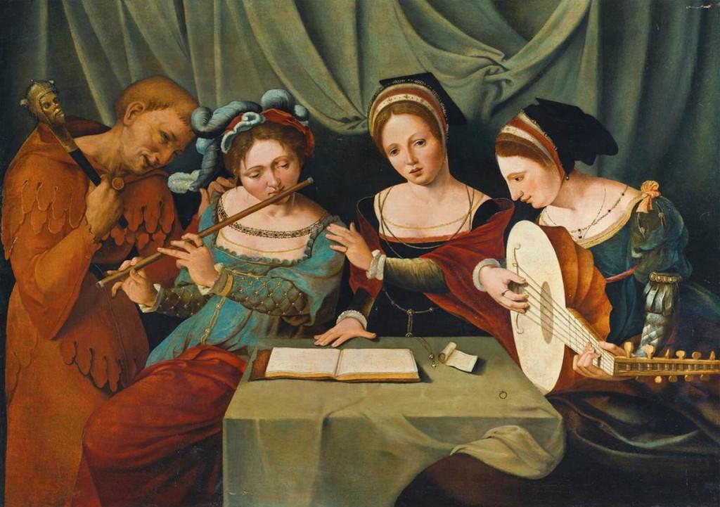 Le Maître des demi-figures féminines, Trois jeunes femmes faisant de la musique avec un bouffon. Huile sur bois, 64 x 90 cm. Collection privée.