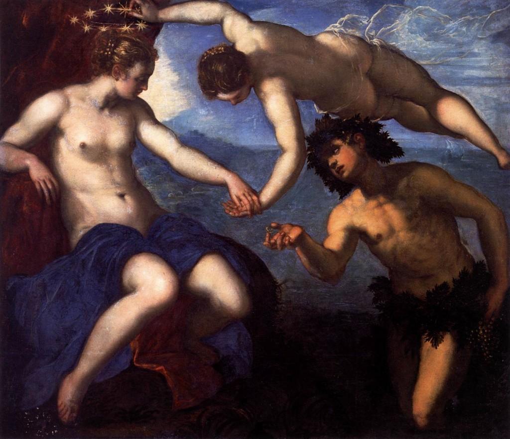 TINTORETTO Bacchus, Venus et Ariane, 1576-77, Huile Palazzo Ducale, Venice