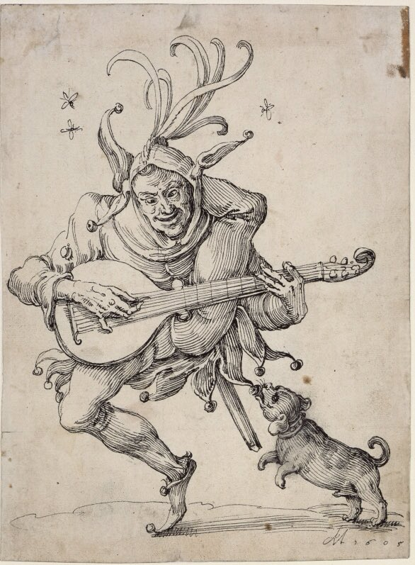 Lute playing Fool with a Dog. Anton Möller der Ältere. Berlin, Kupferstichkabinet.