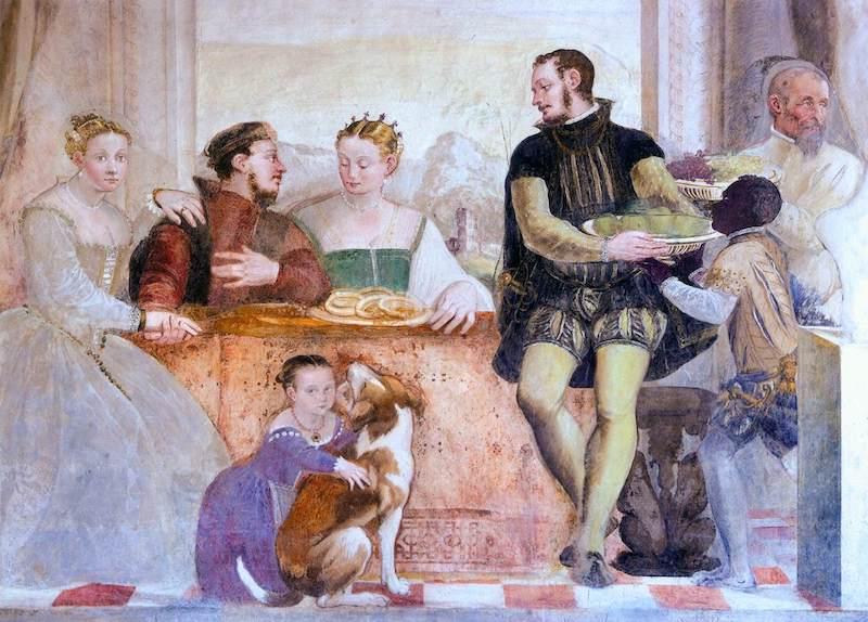 FASOLO, Giovanni Antonio The Banquet 1565-70 Fresco Villa Caldogno, Caldogno (source : WGA)
