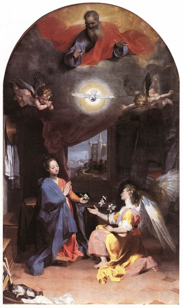 BAROCCI, Federico Fiori Annunciation 1592-96 Oil on canvas Santa Maria degli Angeli, Perugia (source : WGA)