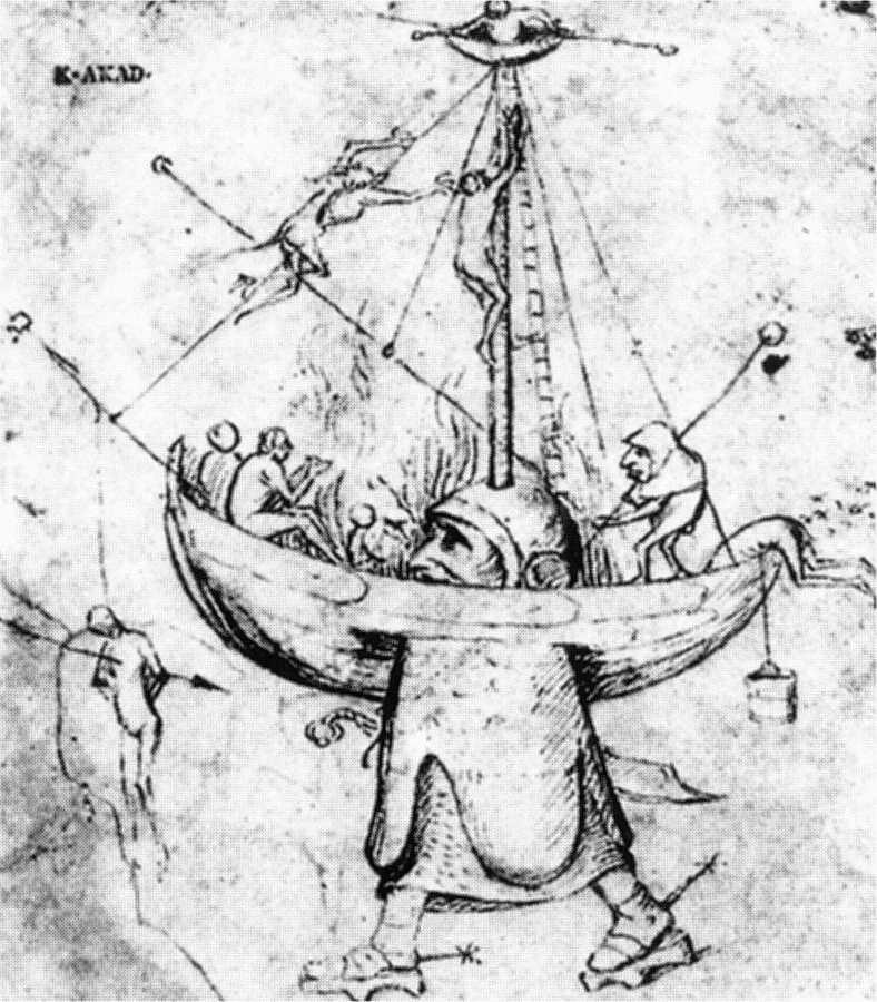 BOSCH, Hieronymus La nef des fous en flammes, Akademie der bildenden Künste, Vienna (source : WGA)