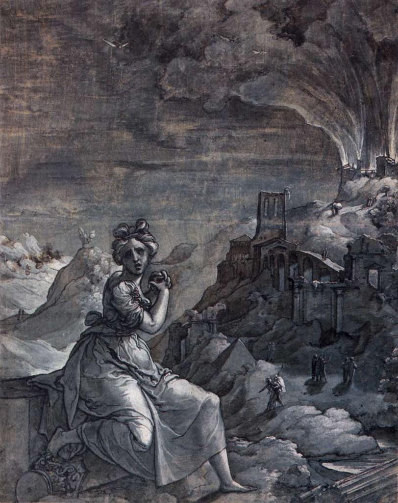 SWART VAN GRONINGEN, Jan Femme se lamentant sur les ruines d'une cité brûlée, 1550-55, Rijksmuseum, Amsterdam (source : WGA)