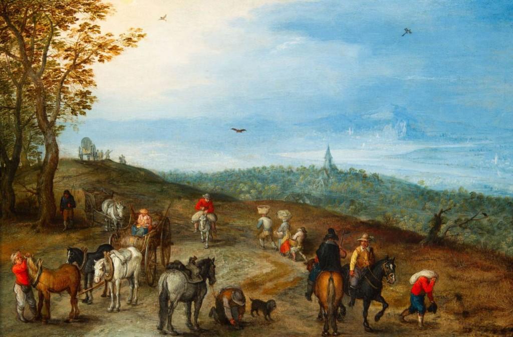 Jean l'Ancien Brueghel, Large paysage avec des voyageurs sur la route, 1610.