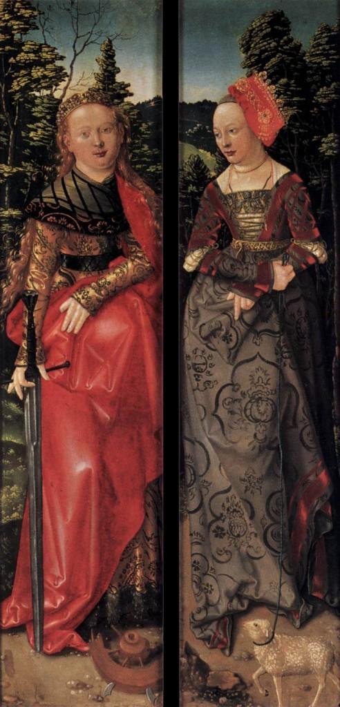 BALDUNG GRIEN, Hans Three Kings Altarpiece (closed) 1507 Linden panel, 121 x 28 cm (each wing) Staatliche Museen, Berlin (source : WGA)