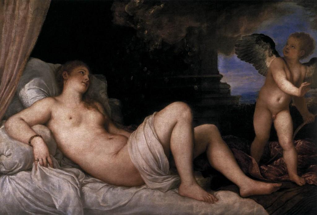 TIZIANO Vecellio Danaë 1544-45 Museo Nazionale di Capodimonte, Naples (source: WGA)