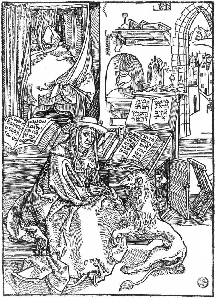 DÜRER, Albrecht St Jerome 1492 Woodcut, 190 x 133 mm Kupferstichkabinett, Öffentliche Kunstsammlung, Basel