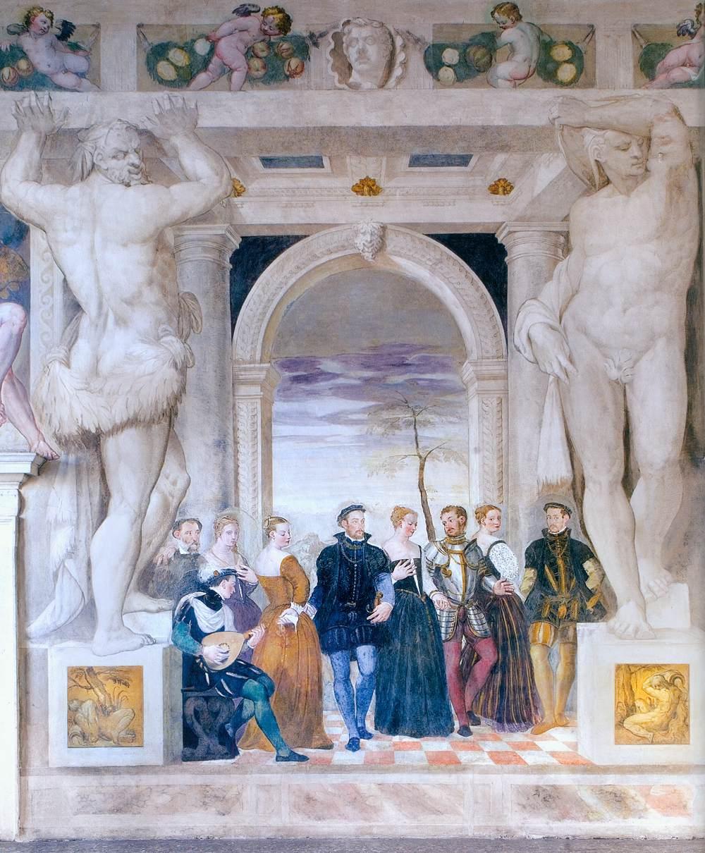 Giovanni Antonio FASOLO, Invitation à danser, Fresque de la villa Caldogno, 1565-70.