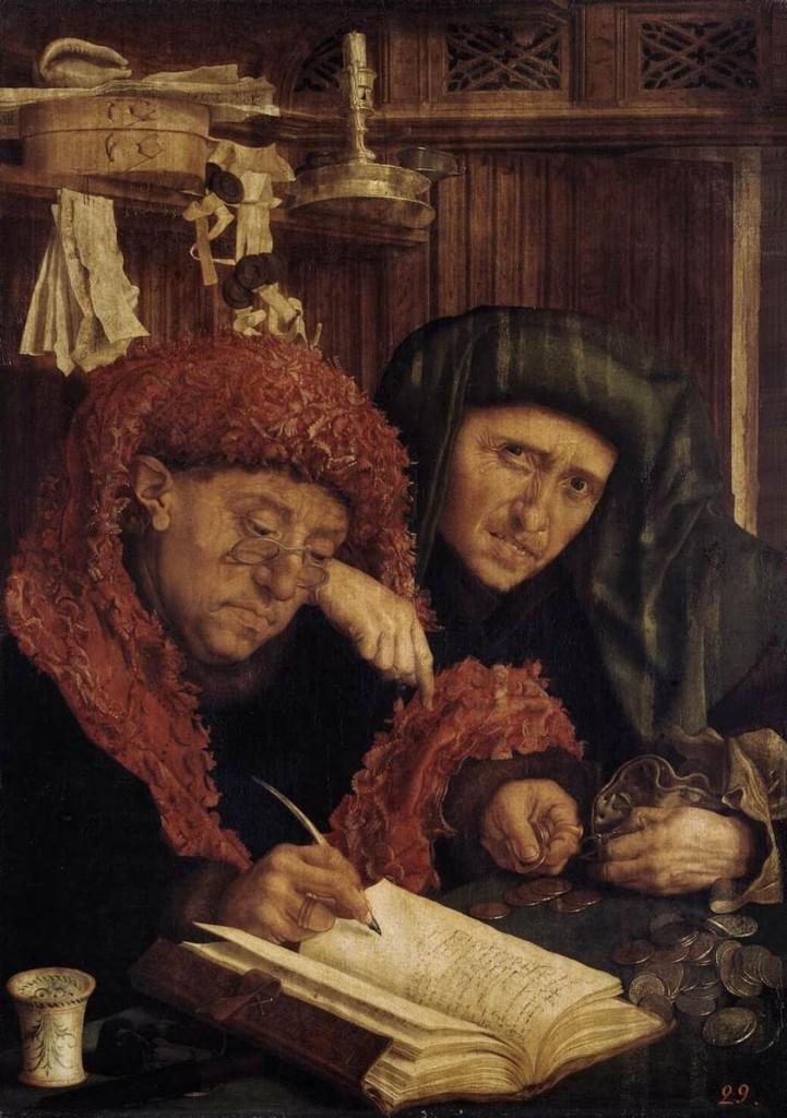 Marinus van Reymerswaele  (1490–1546), Les collecteurs d'impôts (première moitié du XVIe siècle), Hermitage Museum   (source : Wikimedia Commons)