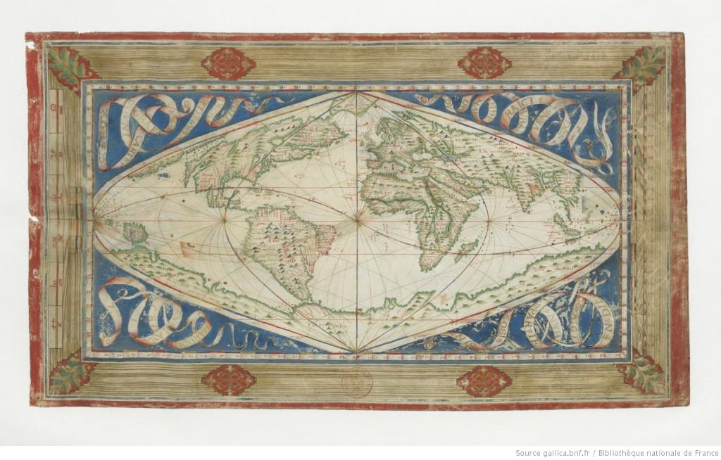 Carte cosmographique et universelle description du monde avec le vrai traict des vents / Faict en Dieppe par Jehan Cossin marinnier en l'an 1570 (source : Gallica http://gallica.bnf.fr/ark:/12148/btv1b5901087w/f1.item)