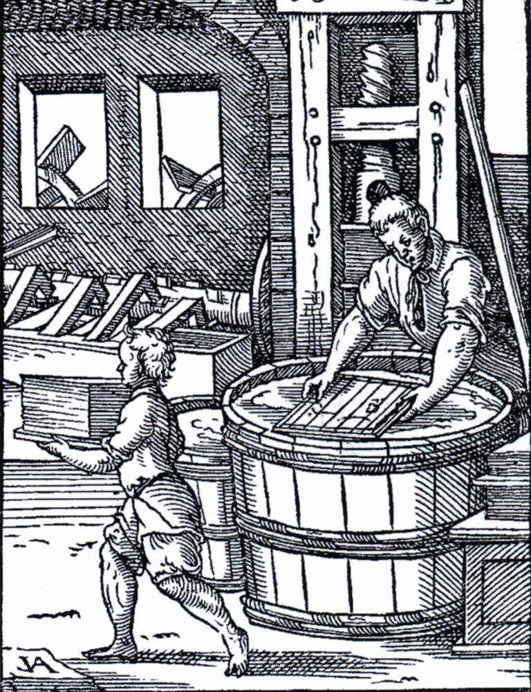 AMMAN, Jost Fabrication du papier, 1568 Victoria and Albert Museum, London (Source : WGA)