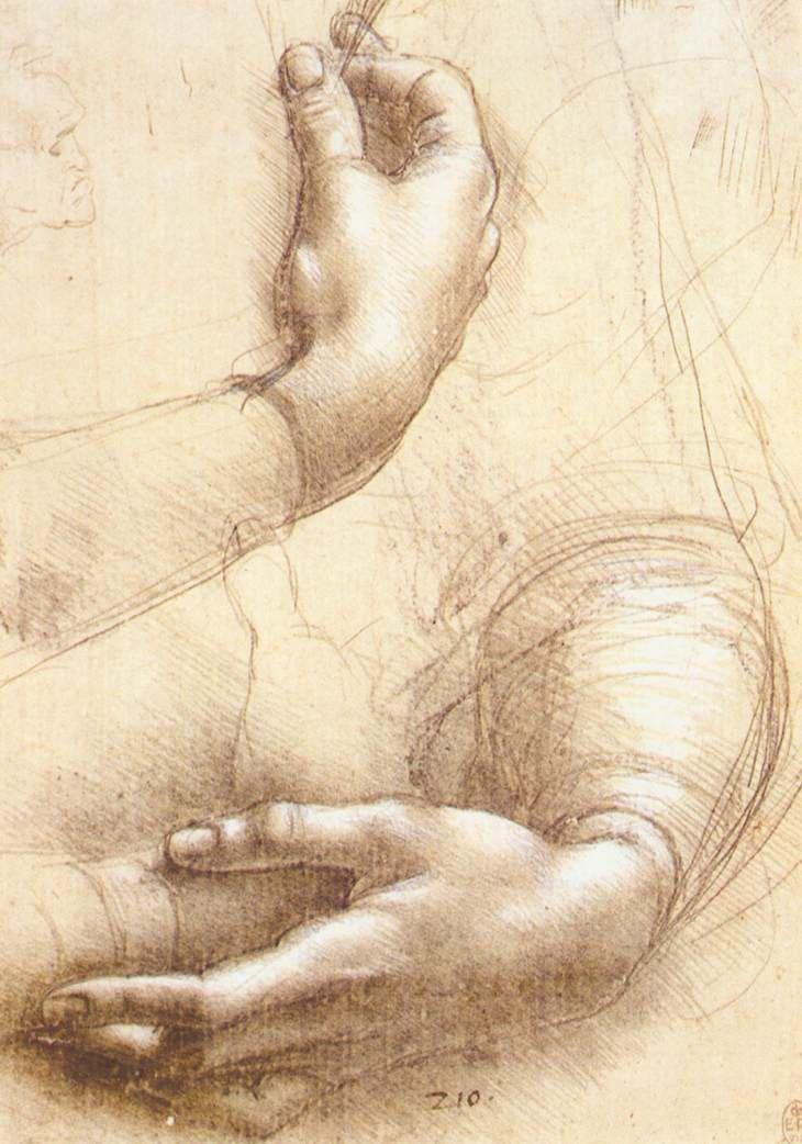 Léonard de Vinci, Etude de mains, 1474