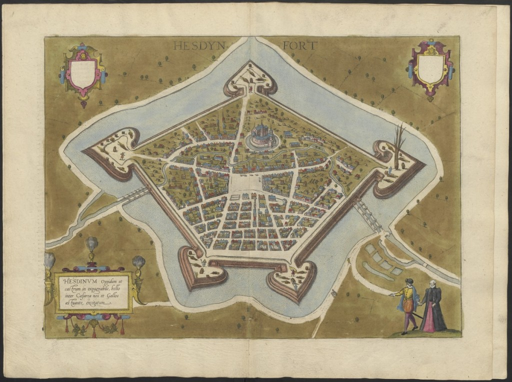 Braun & Hogenberg, Vue de la Ville d'Hesdin, Civitates Orbis Terrarum, 1572