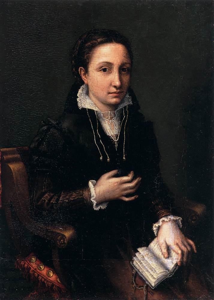 ANGUISSOLA, Lucia Self-Portrait 1557 Oil on panel, 28 x 20 cm Castello Sforzesco, Milan (WGA)