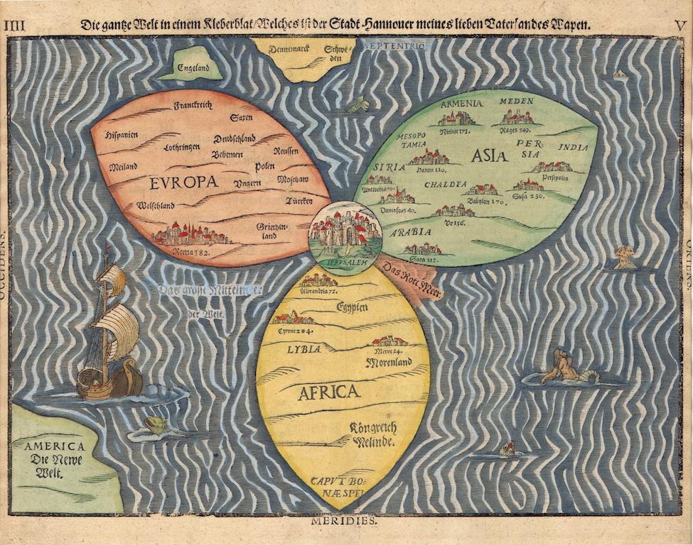 La Carte en trèfle (Die Ganze Welt in einer Kleberblat ) de Heinrich Bünting, 1581 (source : Wikipedia)