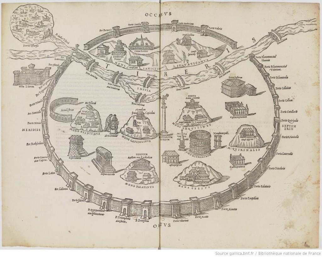 Marcus Fabius Calvus,  Antiquae urbis Romae cum regionibus simulachrum : [estampe], 1532, https://gallica.bnf.fr/ark:/12148/btv1b10551119r