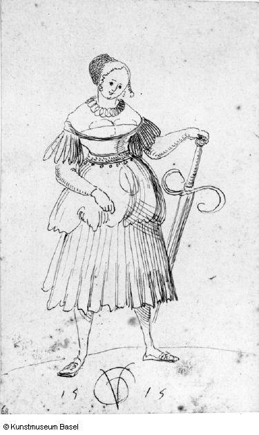 Urs Graf, Dirne mit Zweihänder, 1515, Kunstmuseum Basel, Kupferstichkabinett, Amerbach-Kabinett