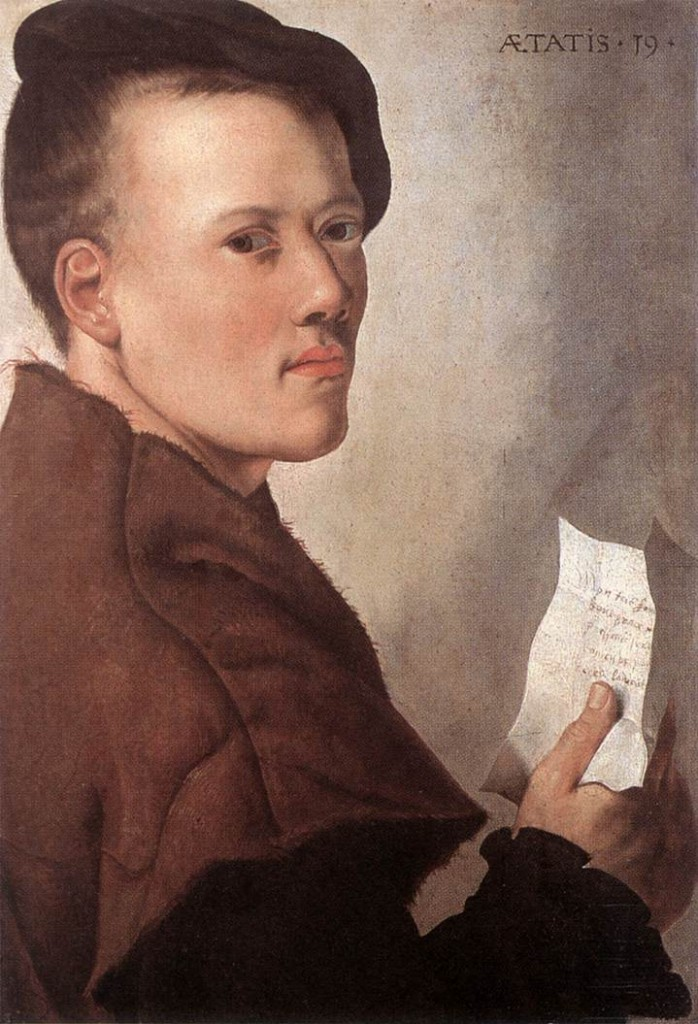 UNKNOWN MASTER, Dutch Portrait of a Young Man - Oil on panel, 46 x 32 cm Koninklijk Museum voor Schone Kunsten, Antwerp (Source : WGA)