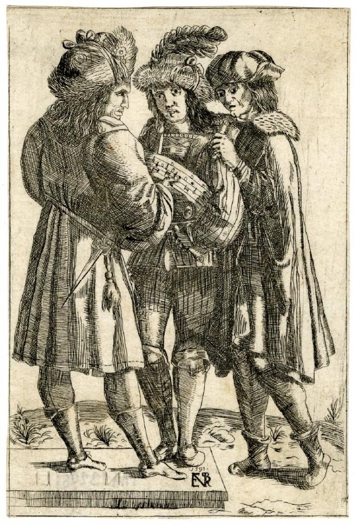Luca Ciamberlano, Trois hommes chantant, 1593 (Gravure), British Museum