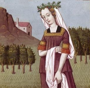 Hypermnestre, l'une des Danaïdes (Bibliothèque nationale de France (BNF). Cote : Français 599, Folio 14) (source : wikipedia)