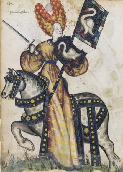 Penthésilée représentée comme l'une des Neuf Preuses avec ses armes aux cygne, Petit armorial équestre de la Toison d'or, fol. 248. (Bibliothèque nationale de France, Manuscrits occidentaux, cote : Clairambault 1312 (source : wikicommons)