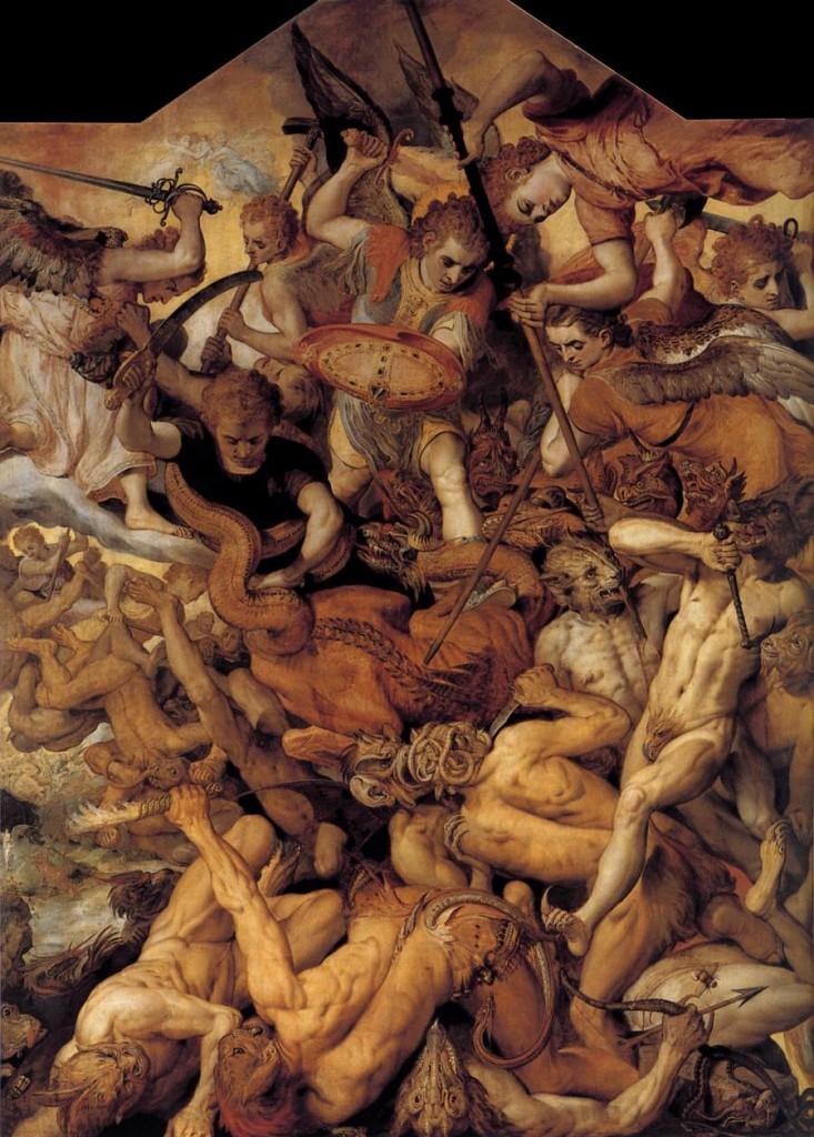 Frans Floris, la chute des anges rebelles, huile sur toile, 1554 (WGA)