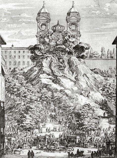 Gravure de Dominique Barrière représentant le décor et la scénographie inventés par Le Bernin pour la naissance du Dauphin de France en 1662.