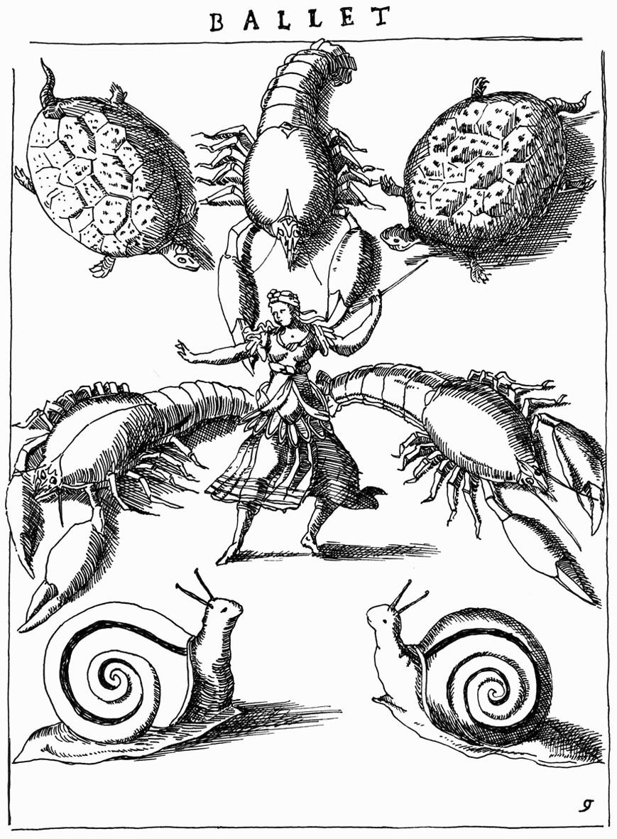 """Dessin de Vincent Dorothée d'après Daniel Rabel (attr.), """"La Délivrance de Renaud"""" (Paris, 1617),  Ballet des monstres d'Armide. Original : INHA, cote NUM 8 RES 613."""