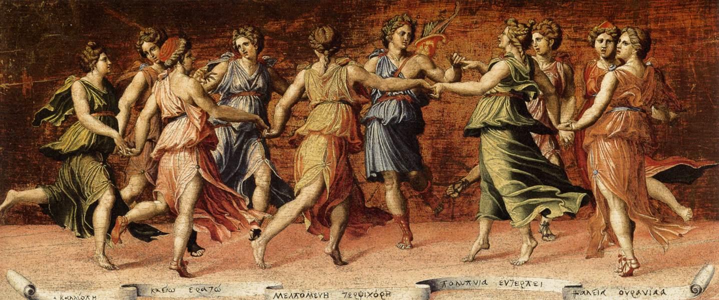 "Baldassare Peruzzi, ""Apollon et les Muses"", (1513-1524), Galleria Palatina (Palazzo Pitti), Florence (source : WGA)."