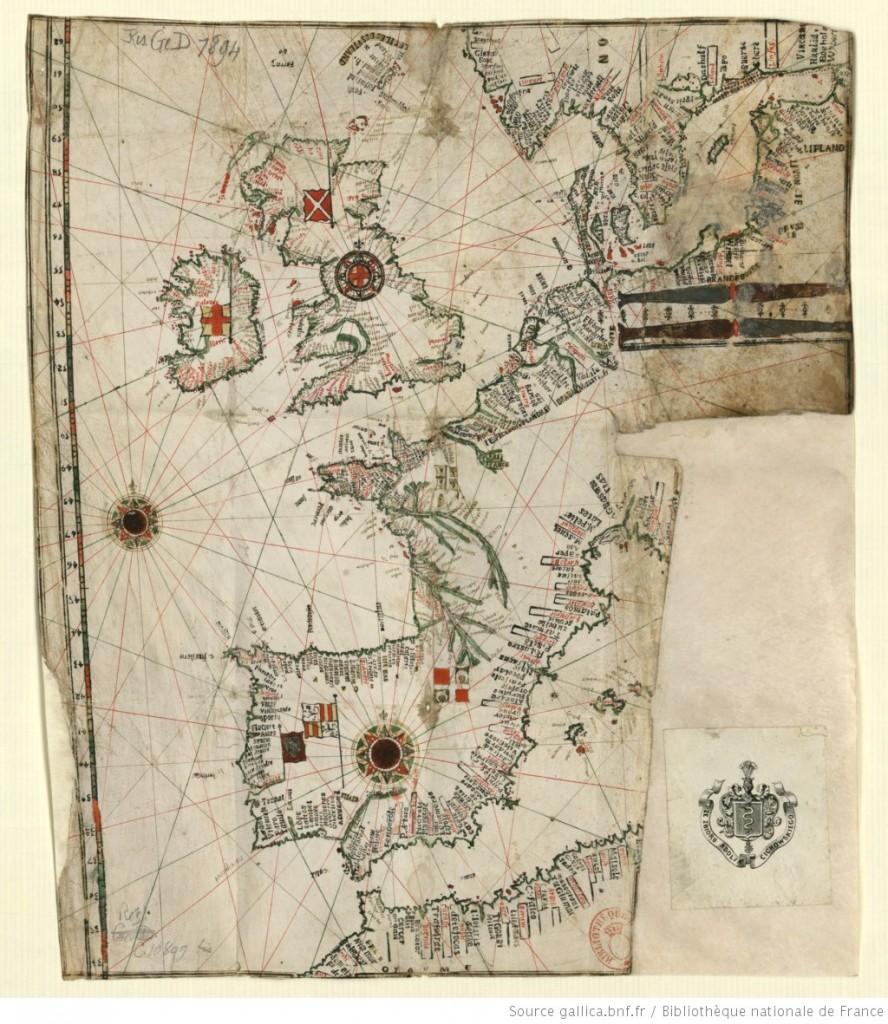 J. Trodec - Carte de l'Océan Atlantique nord-est, 1500-1599 [Source : Gallica, https://gallica.bnf.fr/ark:/12148/btv1b5905550t]