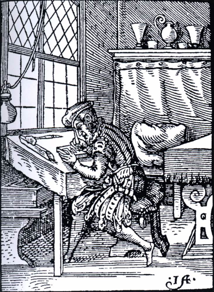 AMMAN, Jost Cutting a woodblock (from the Book of Trades) 1568 Woodcut Victoria and Albert Museum, London (source : WGA)