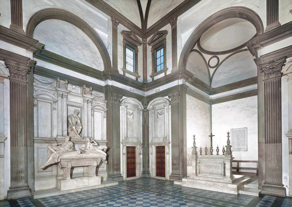 MICHELANGELO Buonarroti View of the Medici Chapel 1526-33 Marble Sagrestia Nuova, San Lorenzo, Florence (source : WGA)
