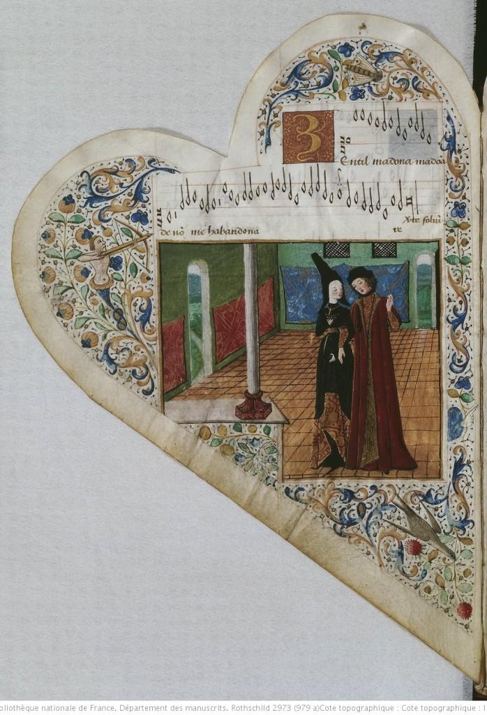 Chansonnier cordiforme de Montchenu. RECUEIL de Chansons italiennes et françaises. 1470-1480 Source : Gallica