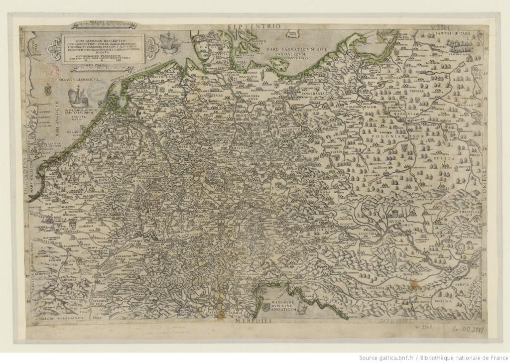 Beatrizet, Nicolas, Nova Germaniae descriptio cum adjacentibus Italiae, Galliae, Britanniae, Poloniae et Pannoniae partibus, illustriss. principi D. 1550-1559 Source : Gallica