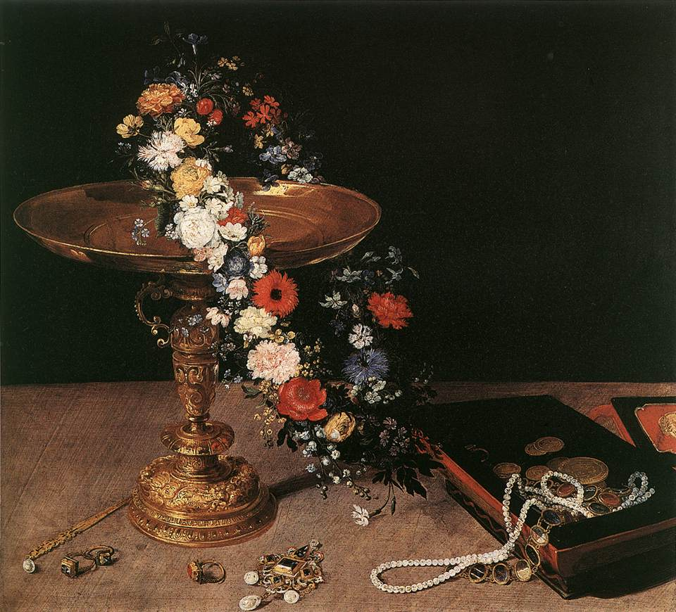 """Jean Brueghel l'Ancien, """"Nature Morte à la guirlande de fleurs et au plateau en or"""" (1618), Bruxelles, Musées Royaux des Beaux-Arts (source : WGA)."""