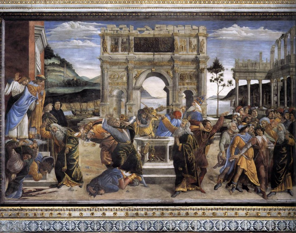 OTTICELLI, Sandro The Punishment of Korah and the Stoning of Moses and Aaron 1481-82 Fresco, 348,5 x 570 cm Cappella Sistina, Vatican (source : WGA)