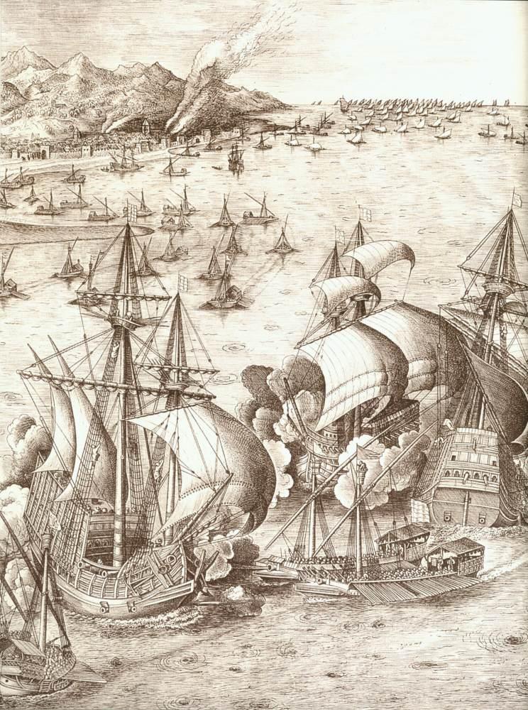 """Frans HUYS, """"Bataille navale dans le détroit de Messine"""" (détail), 1561, Londres, British Museum (source : WGA)."""