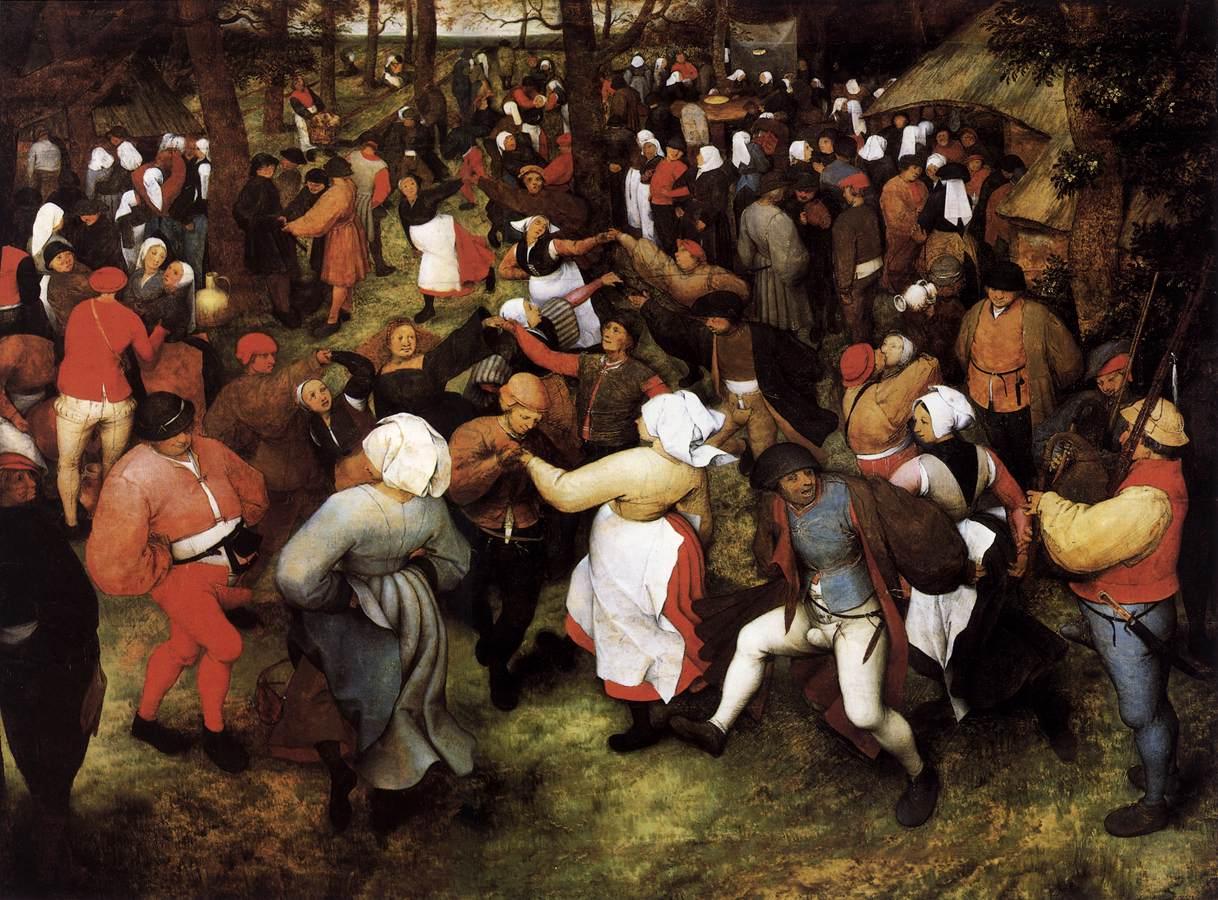 """Pieter Bruegel l'Ancien, """"Danse de mariage en extérieur"""", (1566), Detroit, Institute of Arts (source : WGA)."""
