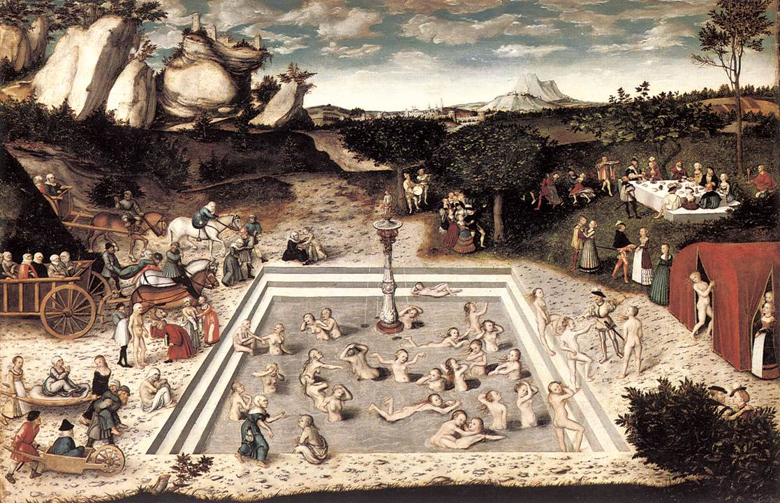 "Lucas Cranach l'Ancien, ""La fontaine de jouvence"", (1546), Berlin, Staatliche Museen (source : WGA)."