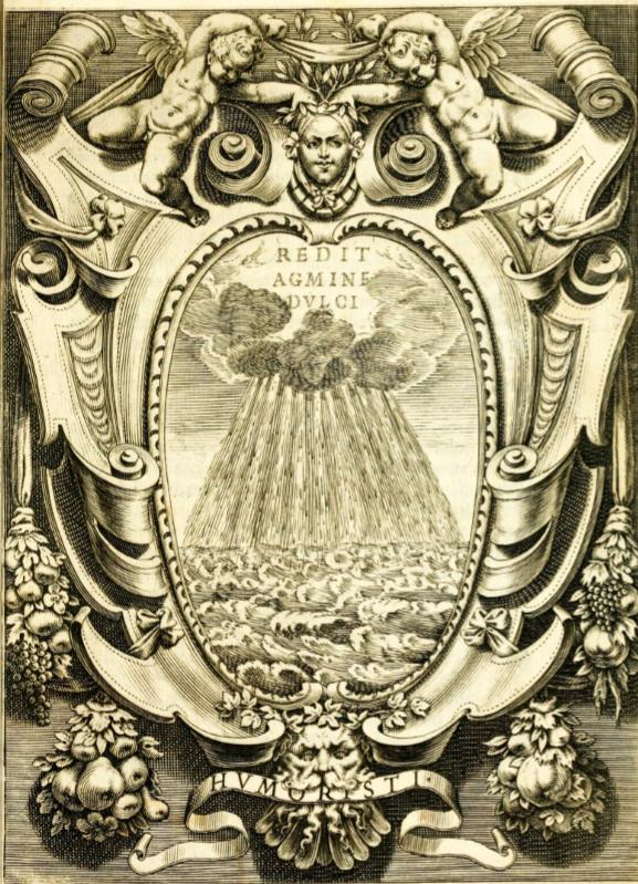 Frontispice de l'édition du Discorso di G. Aleandro sopra l'impresa de gli Accademici Humoristi, Roma, Mascardi, 1611.