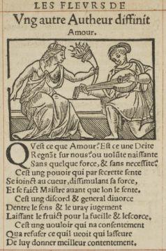 """Page de """"Hécatomphile ; Les fleurs de poésies françoises"""", édition de François Juste (1536-1537), source : Gallica."""