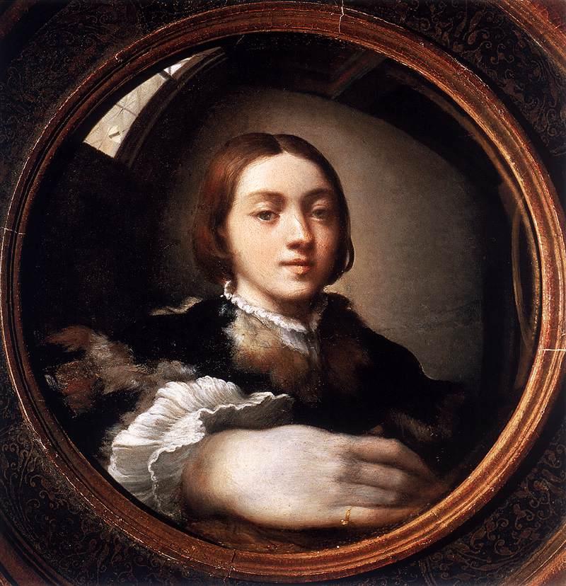 "Parmigianino, ""Autoportrait dans un miroir convexe"", (vers 1524), Vienne, Kunsthistorisches Museum (source : WGA)."