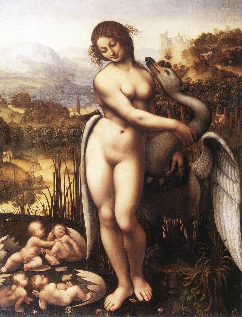 CESARE da Sesto Leda and the Swan 1505-10 Oil on panel, 69,5 x 73,7 cm Wilton House, Salisbury (source : WGA)
