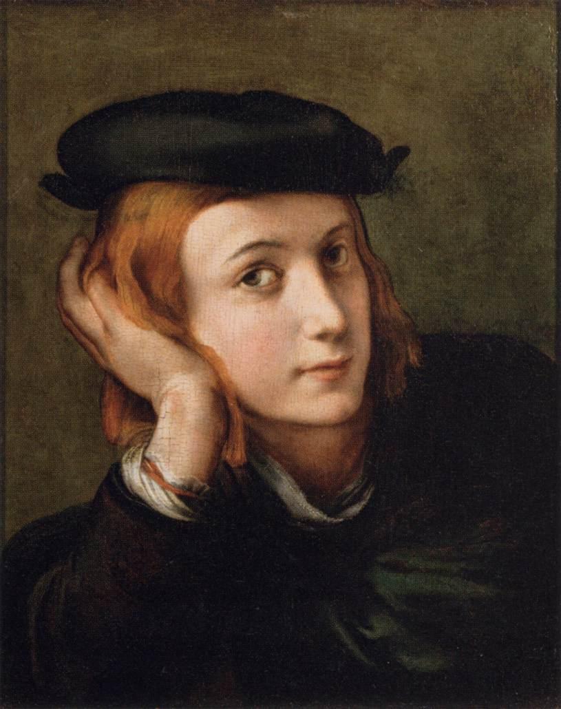 """Parmigianino, """"Portrait d'un jeune homme"""", (années 1520), Paris, Louvre (source : WGA)."""