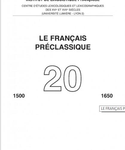 Le Français pré-classique, n°20