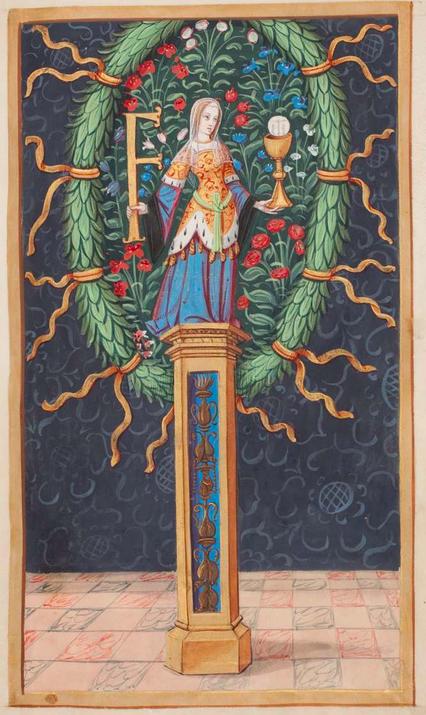 Maître de l'Entrée de François Ier (Jean Ramel ?), Vertu de la Foi et initiale du nom de François Ier, f°13 du manuscrit Cod. Guelf. 86.4 Extrav., Herzog August Bibbliothek, Wolfenbüttel.