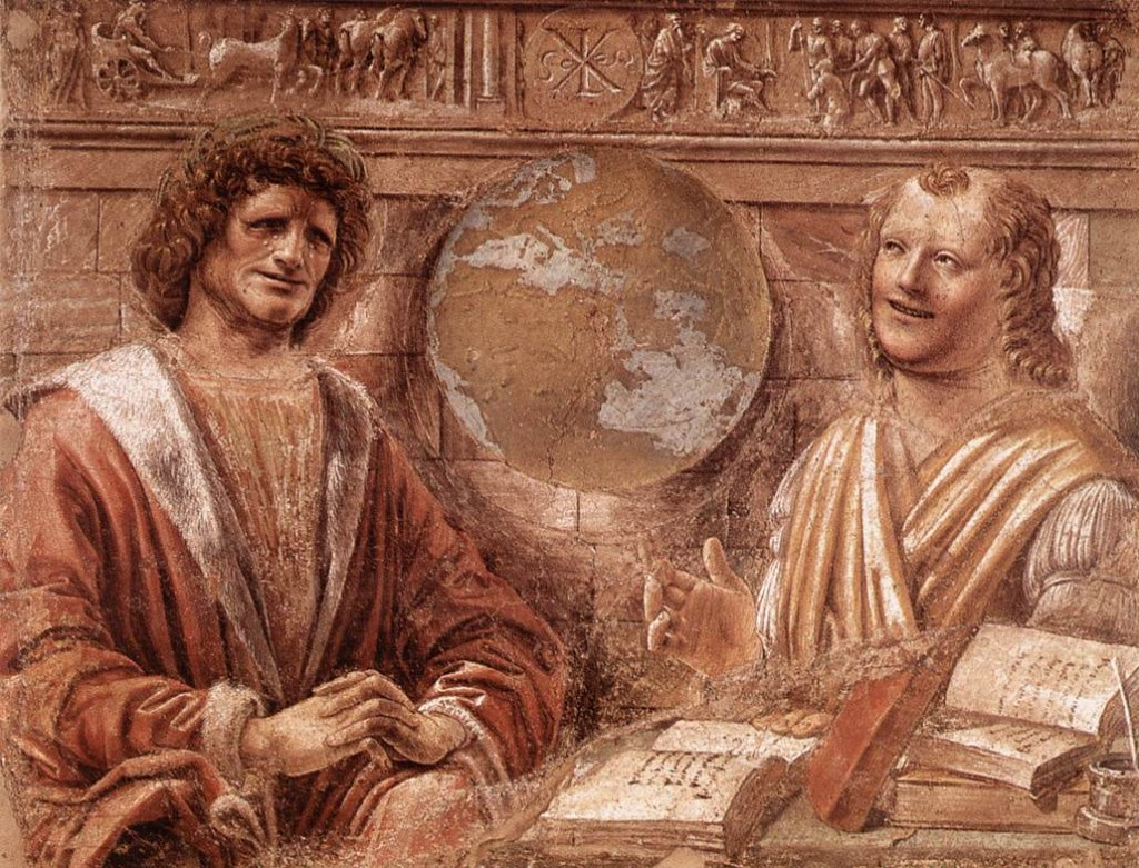 BRAMANTE, Donato Heraclitus and Democritus 1477 Fresco transferred to canvas Pinacoteca di Brera, Milan (source : WGA)