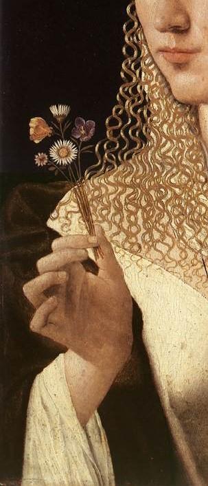 "Bartolomeo Veneto, ""Portrait d'une femme"" (détail), 1520-1525, Francfort, Städelschesn Kunstinstitut (source : WGA)."