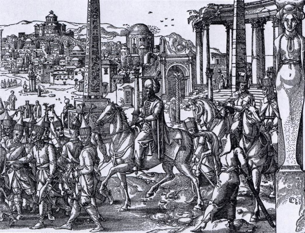 COECKE VAN AELST, Pieter Turkish Sultan before the Hippodrome (detail) 1553 Woodcut, 295 x 831 mm (entire woodcut) Rijksmuseum, Amsterdam (source: WGA)