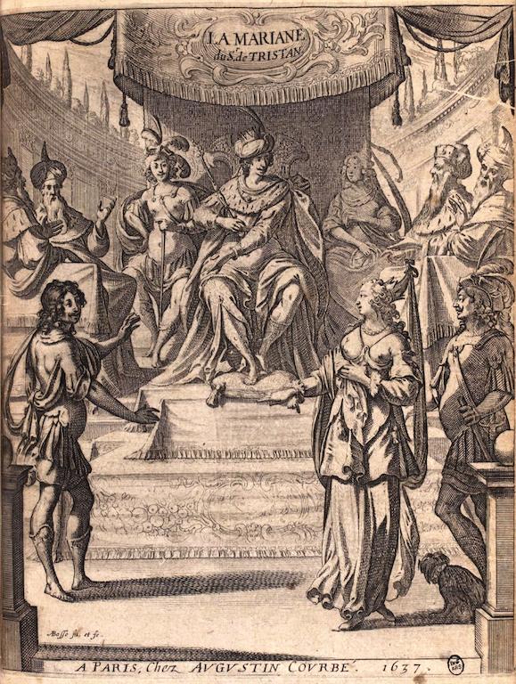 Abraham Bosse, frontispice de la première édition de La Mariane de Tristan L'Hermite (source :  Gallica via Wikipedia)
